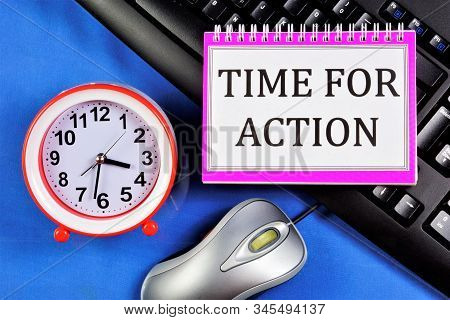 Time for action is a forward-looking approach to planning for achieving a sustainable competitive advantage and finding new opportunities. Career growth and well-being. stock photo