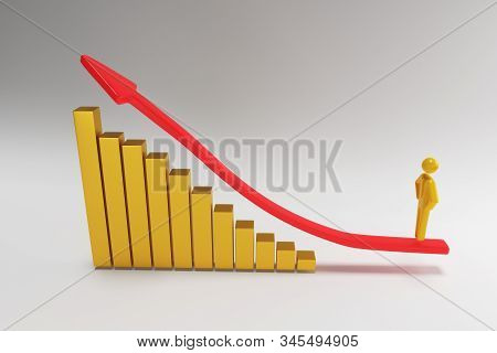 3d figures, person going up on the red arrow. 3d businessman rises according to the schedule. 3d rendering stock photo