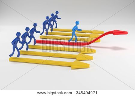 3d man, person going up on the red arrow. 3d people businessman rises according to the schedule. 3d rendering stock photo