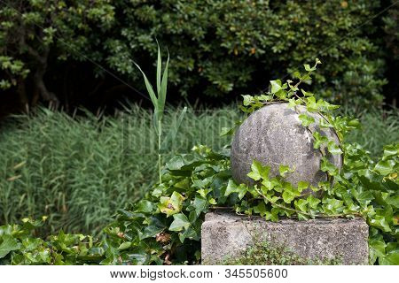 Garden scene showing stone globe on pillar with ivy stock photo