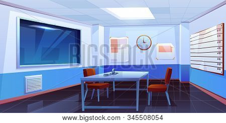 Interrogation room in police station, empty interior for questioning crimes with handcuffs on table, height scale and glass window, place for interview arrested people. Cartoon Illustration stock photo