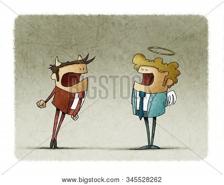 Male gender angel and devil are arguing. The devil is angry and the angel is calm. stock photo