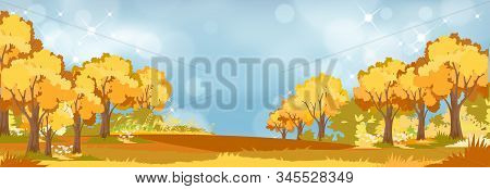 Panoramic of Autumn Countryside landscape in England, Vector illustration of horizontal banner of autumn landscape trees forest with flowers in red, orange and yellow foliage. Coulorfull Fall season stock photo