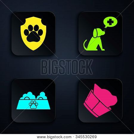 Set Veterinary clinic symbol, Animal health insurance, Pet food bowl for cat or dog and Veterinary clinic symbol. Black square button. Vector stock photo