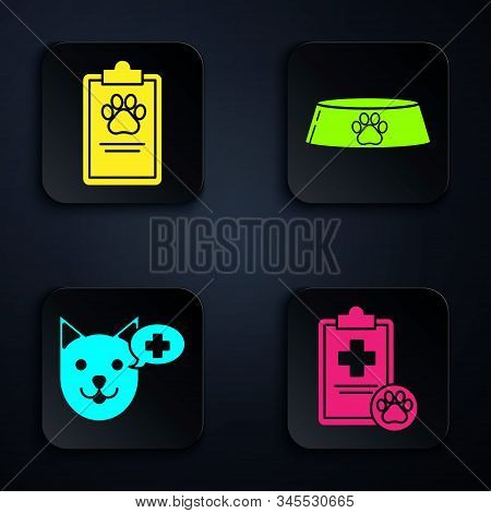 Set Clipboard with medical clinical record pet, Clipboard with medical clinical record pet, Veterinary clinic symbol and Pet food bowl for cat or dog. Black square button. Vector stock photo