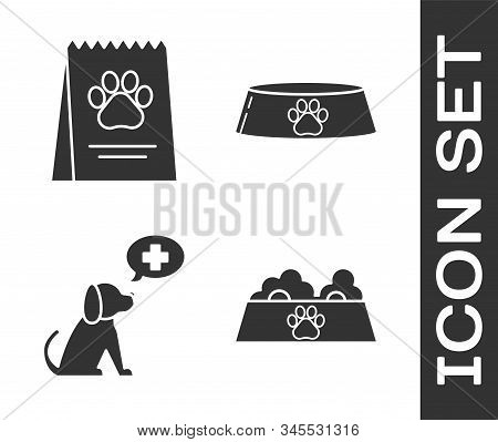 Set Pet food bowl for cat or dog, Bag of food for dog, Veterinary clinic symbol and Pet food bowl for cat or dog icon. Vector stock photo