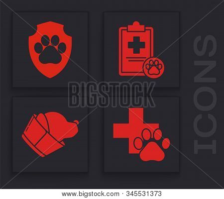 Set Veterinary clinic symbol, Animal health insurance, Clipboard with medical clinical record pet and Veterinary clinic symbol icon. Vector stock photo