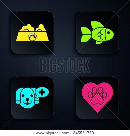 Set Heart with animals footprint, Pet food bowl for cat or dog, Veterinary clinic symbol and Fish. Black square button. Vector stock photo