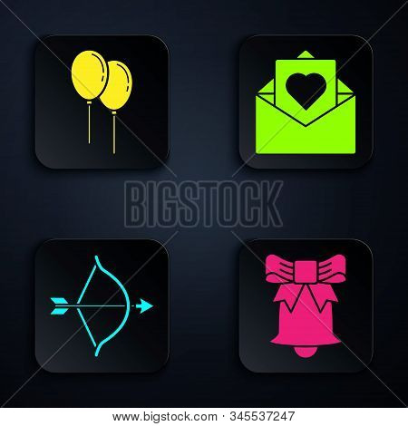 Set Ringing bell, Balloons with ribbon, Bow and arrow and Envelope with Valentine heart. Black square button. Vector stock photo