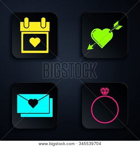Set Diamond engagement ring, Calendar with heart, Envelope with Valentine heart and Amour symbol with heart and arrow. Black square button. Vector stock photo