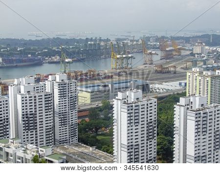 aerial view of Singapore, a city-state in Southeast Asia including a distant view of the port stock photo