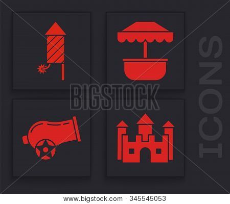 Set Castle, Firework rocket, Attraction carousel and Cannon icon. Vector stock photo