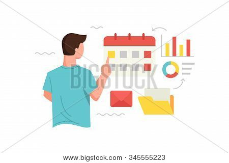 Vector illustration Men analyze data and arrange schedules or dates. Manage time and schedule concept illustration of marketing. Vector flat illustration stock photo