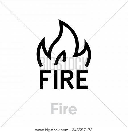Fire Abstract logo, vector icon. Editable line illustration stock photo