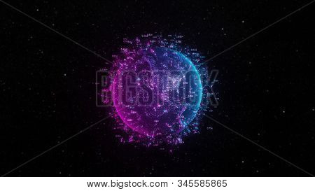 Abstract futuristic planet Earth surrounded by virtual elements. Dots, numbers and lines. Element of this image furnished by NASA. 3D rendering. Technology concept stock photo