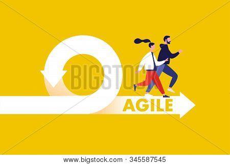 Agile development methodology icon vector illustration. Agile Life Cycle Icon Vector. stock photo