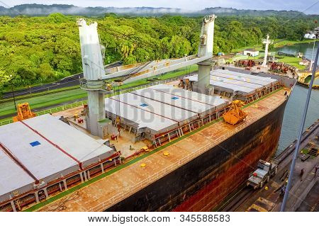 View of Panama Canal from cruise ship at Panama stock photo