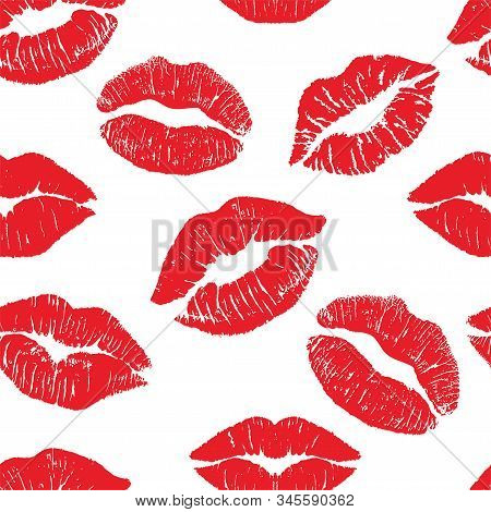 Lipstick kiss print isolated seamless pattern. Red vector lips set. Different shapes of female sexy red lips. Sexy lips makeup, kiss mouth. Female mouth. Print of lips kiss vector background. stock photo