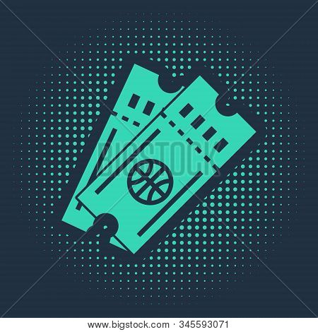 Green Basketball game ticket icon isolated on blue background. Abstract circle random dots. Vector Illustration stock photo