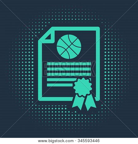 Green Certificate template basketball award icon isolated on blue background. Achievement, award, degree, grant, diploma concepts. Abstract circle random dots. Vector Illustration stock photo