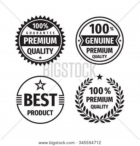 Business badges vector set in retro vintage design style. Abstract logo. Premium quality. 100% guarantee. Best product. Sale emblems. Concept labels in black & white colors. stock photo