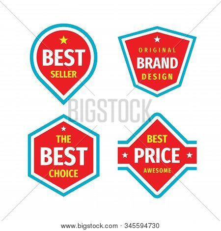 Business badges vector set in retro vintage design style. Best seller. The best choice. The best price awesome. Original brand design. Concept labels red, blue, white and yellow colors. stock photo