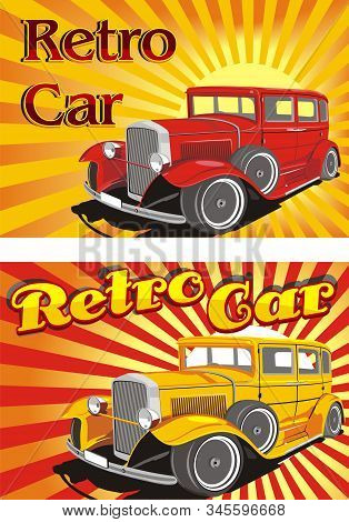 Retro cars in the rays of the abstract sun. Two cars in red and yellow. Vector illustration stock photo
