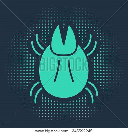 Green Parasite mite icon isolated on blue background. Abstract circle random dots. Vector Illustration stock photo