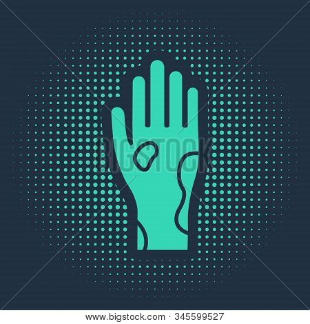Green Hand with psoriasis or eczema icon isolated on blue background. Concept of human skin response to allergen or chronic body problem. Abstract circle random dots. Vector Illustration stock photo