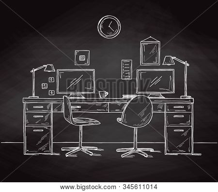 Sketch the room. Office chair, desk, various objects on the table. Sketch workspace. Vector illustration stock photo