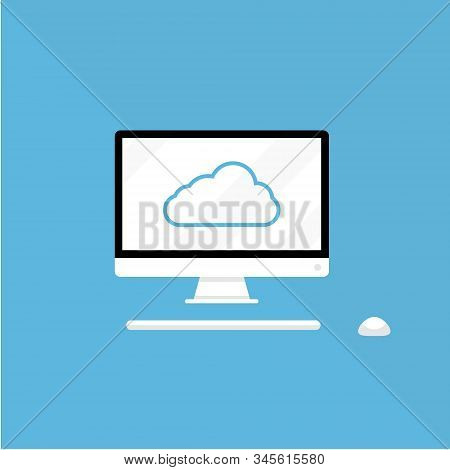 Cloud storage and pc download in isometric vector design. Computer service or app with data transfering. Online computing technology. Abstract server network connection. stock photo