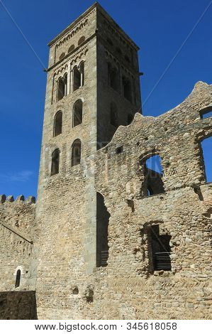 The Romanesque abbey of Sant Pere de Rodes in Cap de Creus Natural park. It is a former Benedictine monastery in the comarca of Alt Emporda, in the North East of Catalonia, Spain. stock photo
