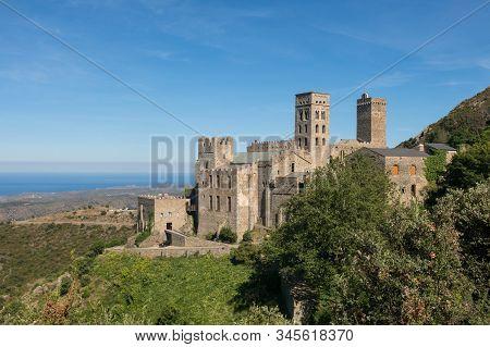 The Romanesque abbey of Sant Pere de Rodes in Cap de Creus Natural Park, in the municipality of El Port de la Selva. Girona, Catalonia stock photo