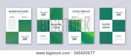 Business brochure design template set. Green abstract lines on dark background. Adorable brochure design. Comely catalog, poster, book template etc. stock photo