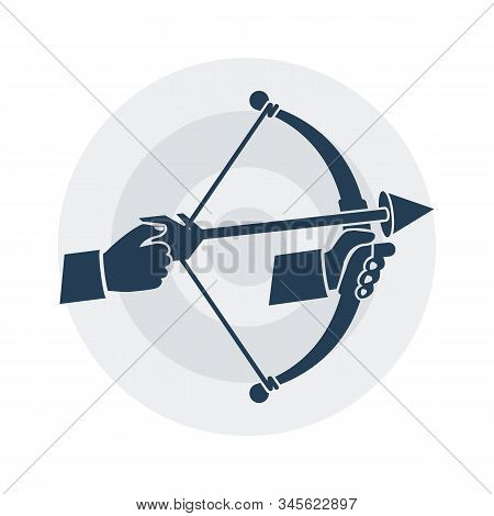 Archery glyph icon. Bow with arrow holding in hand. Vector illustration flat design. Isolated black pictogram on a white background. Hobby shoot. Symbol of achieving the goal. stock photo