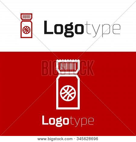 Red Basketball game ticket icon isolated on white background. Logo design template element. Vector Illustration stock photo