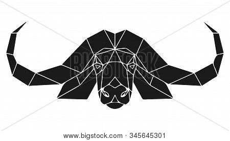 The black geometric head of cape buffalo, african bull. Polygonal abstract animal of Africa. Vector illustration. stock photo