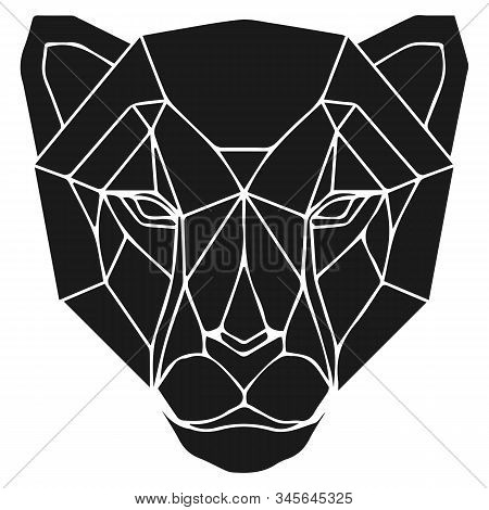The black geometric head of cheetah or panther. Polygonal abstract animal of Africa. Vector illustration. stock photo
