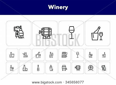 Winery icons. Set of line icons on white background. Wine bottle, barrel, beer. Alcohol concept. Vector illustration can be used for topics like bar, drinks, winemaking stock photo