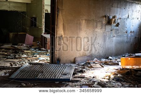 Old abandoned building with broken windows.Old abandoned building with broken windows stock photo