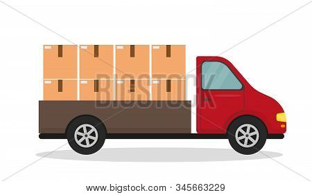 Delivery van with boxes. Fast delivery or moving concept. Vector illustration. stock photo