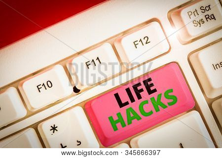 Conceptual hand writing showing Life Hacks. Business photo showcasing Strategy technique to analysisage daily activities more efficiently. stock photo