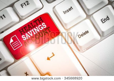 Word writing text Health Savings Account. Business concept for users with High Deductible Health Insurance Policy White pc keyboard with empty note paper above white background key copy space. stock photo