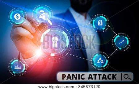 Word writing text Panic Attack. Business concept for sudden periods of intense fear that may include palpitations Male human wear formal work suit presenting presentation using smart device. stock photo