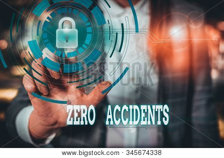 Writing note showing Zero Accidents. Business photo showcasing important strategy for preventing workplace accidents Female human wear formal work suit presenting smart device. stock photo