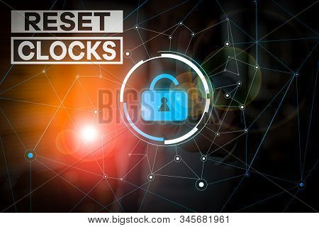 Handwriting text Reset Clocks. Concept meaning To revisit return to or recreate a time or era from the past Woman wear formal work suit presenting presentation using smart device. stock photo