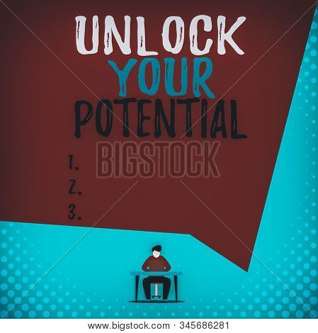 Text sign showing Unlock Your Potential. Conceptual photo improve self awareness Skills to Achieve more View young man sitting chair desk working open laptop geometric background. stock photo
