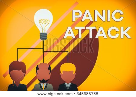 Handwriting text writing Panic Attack. Concept meaning sudden periods of intense fear that may include palpitations Group three executive persons sharing idea icon. Startup team meeting. stock photo