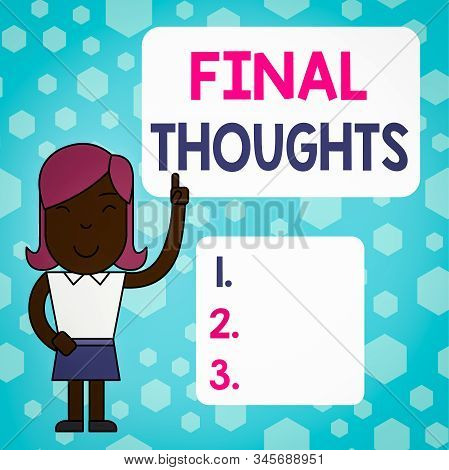 Writing note showing Final Thoughts. Business photo showcasing the conclusion or last few sentences within your conclusion Woman Standing with Raised Left Index Finger Pointing at Blank Text Box. stock photo