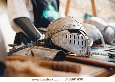 Exhibition of ancient armor, weapons, helmets from Viking steel Mdina Malta stock photo